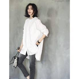 ノーカラー超バックロングシャツ (ホワイト)