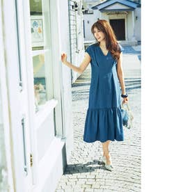 デニム裾フレアワンピース (ブルー)