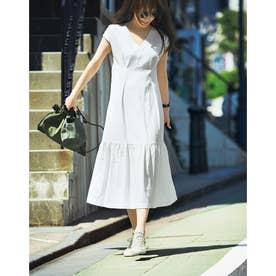 デニム裾フレアワンピース (ホワイト)