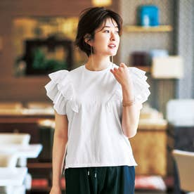 ラッフルフリル袖Tシャツ (ホワイト)