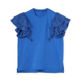 ラッフルフリル袖Tシャツ (ブルー)