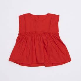 フリルギャザーフレンチスリーブブラウス (Red)