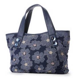 デニム地に花柄を合わせたバッグ (ブルー)