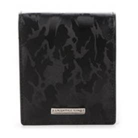 カモフラレザー折財布 (ブラック)