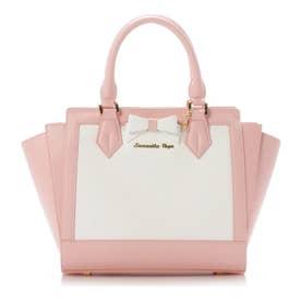 ホワイトバイカラー リボンパスケース付きトートバッグ M (ピンク)