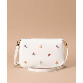 オリジナルフラワー刺繍 ショルダーバッグ (ホワイト)