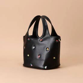 オリジナルフラワー刺繍 トートバッグ (ブラック)