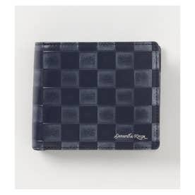 市松模様柄 バイカラー 折財布 (ネイビー)