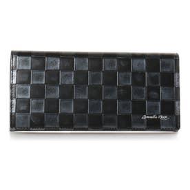 市松模様柄 バイカラー 長財布 ブラック