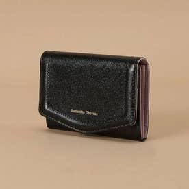 シンプルラメレザー カードケース (ブラック)