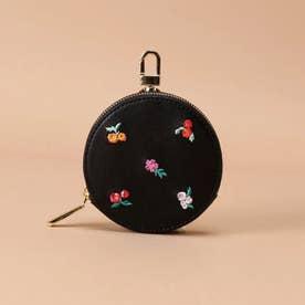 オリジナルフラワー刺繍 サークルポーチ (ブラック)