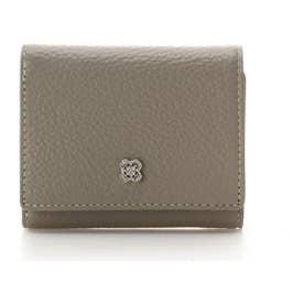 フラワービジュー 三つ折り財布 (グレージュ)