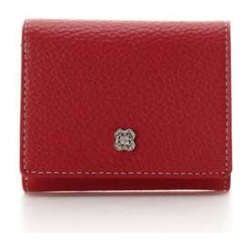 フラワービジュー 三つ折り財布 (レッド)