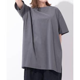 Samantha Green オーガニックコットン混チュニックTシャツ (ダークグレー)