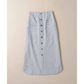 ストライプ前ボタンマキシタイトスカート ブルー