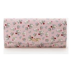 フラワーブーケデザインかぶせ長財布 (ピンク)