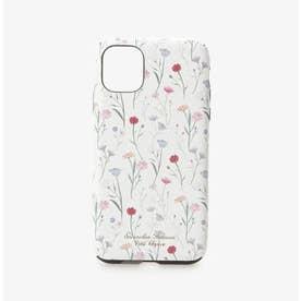 iPhone11ケース スプリンクルフラワー (ホワイト)