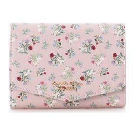 ★フラワーブーケデザイン中折財布 (ピンク)