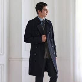 <100年コート>ダブルトレンチコート (ネイビー)