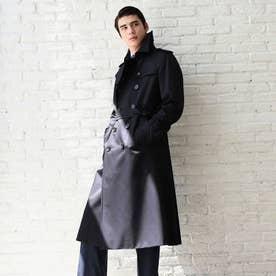 <100年コート>ダブルトレンチロングコート (ネイビー)