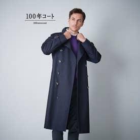 <100年コート>クラシックダブルトレンチコート(三陽格子) (ネイビー)