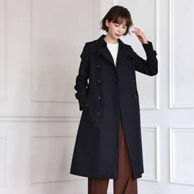 <100年コート>ダブルトレンチロングコート(三陽格子) (ネイビー)