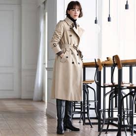<100年コート>ダブルトレンチロングコート(三陽格子) (ベージュ)