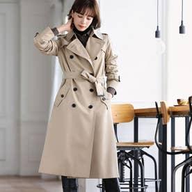 <100年コート>ダブルトレンチロングコート (ベージュ)