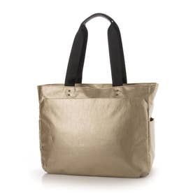 ビジネスにも使える 軽量、撥水のメタリック素材トートバッグ  Sactave (ゴールド)