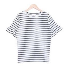 フリル袖シンプルTシャツ (T0J(ボーダー))