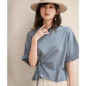 【コットン100%】ウエストリボンビックTシャツ (ブルー)