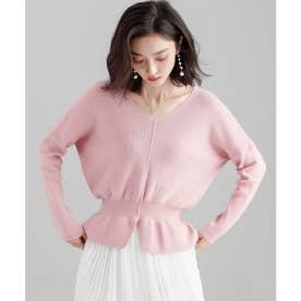 11色4size裾フレアペプラムニットトップス (ベビーピンク)