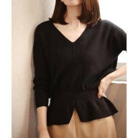 11色4size裾フレアペプラムニットトップス (ブラック)