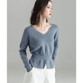 11色4size裾フレアペプラムニットトップス (ライトブルー)