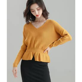 11色4size裾フレアペプラムニットトップス (イエロー)