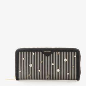 ビジュー付きストライプ長財布 (ブラック)