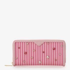 ビジュー付きストライプ長財布 (ピンク)