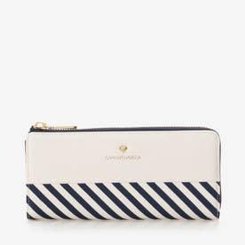 ストライプ柄 長財布 (ホワイト)