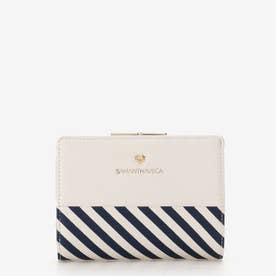 ストライプ柄 折財布 (ホワイト)