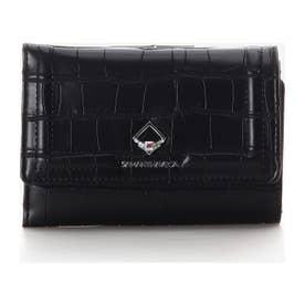 クロコ型スクエアストーンがま口財布 (ブラック)