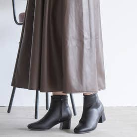 スクエアトゥチャンキーローヒールショートブーツ (BLK1)