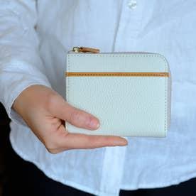 本革ミニウォレット L型ファスナー L字ミニ財布(ホワイト)