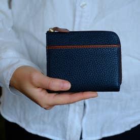 本革ミニウォレット L型ファスナー L字ミニ財布(ネイビー)