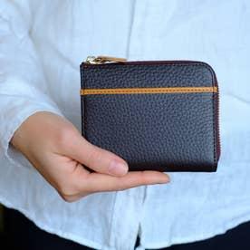 本革ミニウォレット L型ファスナー L字ミニ財布(ブラウン)