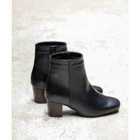 高級ウッドヒールのスクエアトゥショートブーツ (ブラック)