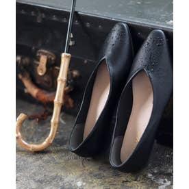 生活防水対応Vカットフラットレインパンプス/オールウェザーパンプス/晴雨兼用 (ブラック)