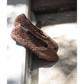 スクエアトゥメッシュ編みフラットパンプス (ブラウン)
