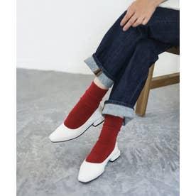 履き口ゴムのスクエアトゥブロックヒールパンプス (ホワイト)