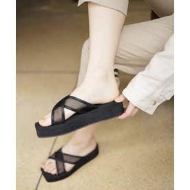 弾力EVAソールのシースルークロスベルト厚底サンダル (ブラック)