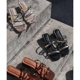 クリアヒール×PVC素材のメニーストラップローヒールサンダル/フラットサンダル (ブラックゴールド)